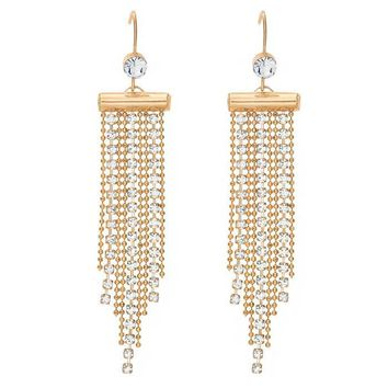 Gold Chains Clear Austrian Crystal Drop & Dangle Earrings in 14K Gold Plated