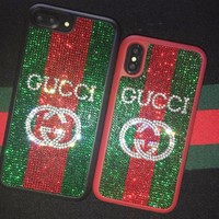 GUCCI 2018 Hot ! iPhone X iPhone 7 iPhone 8 plus - Fashion GG Letter Shiny Diamond Couple Phone Case For iphone 6 6s 6plus 6s plus