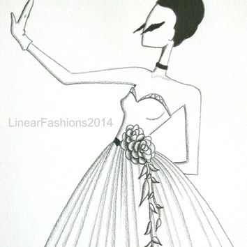 The Swan / fashion illustration / 1950s ball gown / original pencil drawing / art / gift