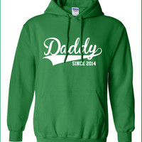 Daddy since 2014 proud baby maternity boy girl cooler cool Printed hoodie hooded sweatshirt Mens Ladies sweater dad Kids Funny mad ML-209