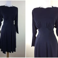 Vintage 1940s navy blue rayon dress / 40s dress