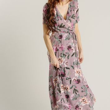 Val Mauve Floral Wrap Dress