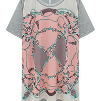 Gray Magic Chain Printed Round Neckline Asymmetric T-Shirt