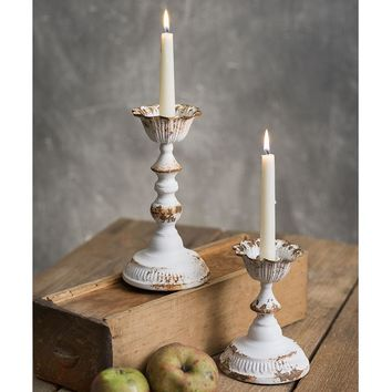 Set of Two Country Rustic Distressed Metal Dapheny Tapered Candle Holders Accent