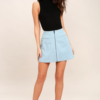 Zippity Doo Dah Blue Chambray Mini Skirt