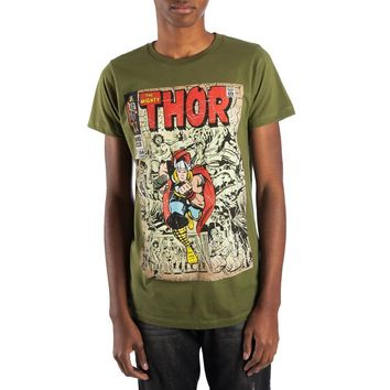 Vintage Thor Marvel Comic Book Cover Artwork Men's Grey Graphic Print Boxed Cotton T-Shirt