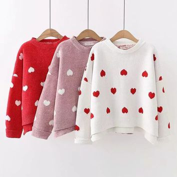 Adorable Dancing Hearts Loose Knit Pullover Sweater