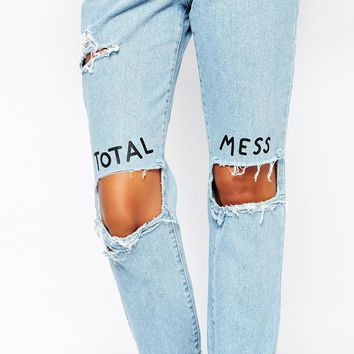 The Ragged Priest X Lazy Oaf High Rise Mom Jeans With Ripped Knees & Total Mess