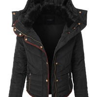 LE3NO Womens Quilted Slim Fit Puffer Hoodie Jacket with Faux Fur