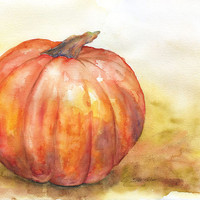 Pumpkin Watercolor Painting 11 x 14 - Giclee Print - Autumn Fall Decor