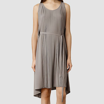 Womens Emilie Dress (Taupe/Taupe) | ALLSAINTS.com
