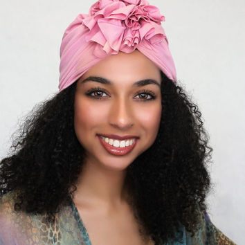 Rose Pink Flower Turban