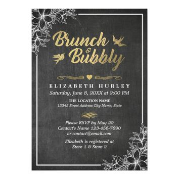 Chalkboard Floral Brunch and Bubbly Bridal Shower Card
