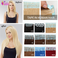 20pcs/lot 16-24inch Tape in Human Hair Extension Straight Brazilian