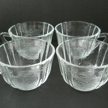 Clear Depression Glass Madrid Pattern Cup Set Of 4 Federal Glass Co. c 1930s