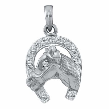 14kt White Gold Women's Round Diamond Lucky Horseshoe Horse Head Pendant 1-10 Cttw - FREE Shipping (US/CAN)