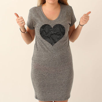 Crumpled Black Heart - Shirt Dress - Eco Grey - 300