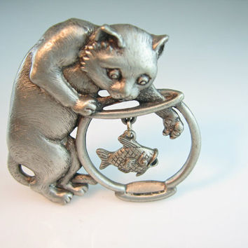 Cat Jewelry. Vintage Brooch. Signed JJ. Kitty Raiding the Fish Bowl. Dangling Charm. Figural Pin. 1970s Jewelry.