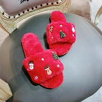 New Year Festive Christmas Romantic Cartoon Plush Slippers Sandals Women Flats Shoes