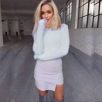 Autumn Winter Sweater Women Long Sleeve Warm Hairy Turtle Neck Knitted Plush Solid Women Clothing LJ5364T