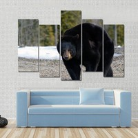 A Big Black Bear In Early Spring Canvas
