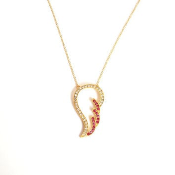 Wing, Feather with rhinestone Necklace