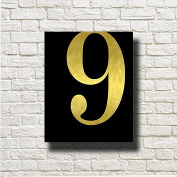 Number 9 Gold Black Printable Instant Download Digital Art Wall Art Print Poster Home Decor GN109b