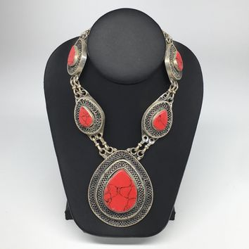 Turkmen Necklace Afghan Ethnic Tribal 5 Cab Red Coral Inlay Kuchi Necklace TN245
