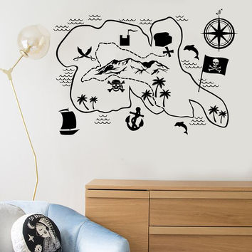 Vinyl Wall Decal Pirate Map Treasures Kids Room Adventure Art Idea Stickers Unique Gift (ig4880)