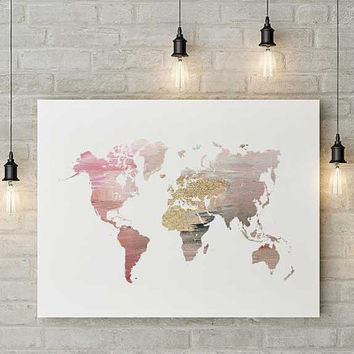 Modern map of the world, world map, map wall poster, large world map, modern wall art, world map poster, prints abstract, pink world map