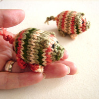 Silky piggy knitted baby toy, little pigs stuffed toy in rusty, cream and green shades