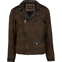 River Island MensGreen and black contrast panel leather jacket