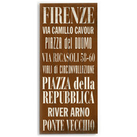 Firenze by Artist Cory Steffen Wood Sign