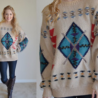 Vintage Beige Aztec Sweater Arrow Tribal Print Sweater Geometric Southwestern Ethnic Jumper Awesome Print Womens Mens Size L Hipster Tumblr