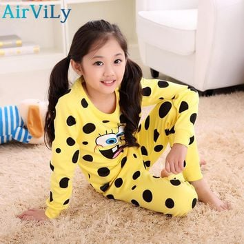Kids Cotton Underwear Suit Sponge Bob Girl Sleepwear Trousers Cartoon Suit Children Spring Autumn Clothes Robe Boys Pajama Sets