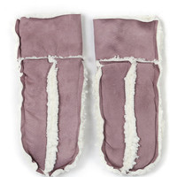 Pink Faux Shearling Mittens