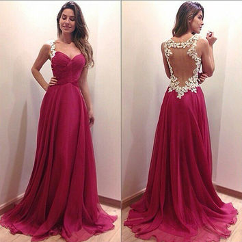 Red Wine Cutout Back Lace A-Line Chiffon Maxi Dress