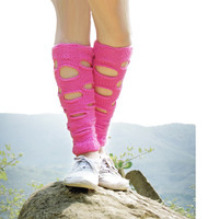 Boot Socks, Ripped Leg Warmers in Pink, sock lace leg warmers, Knitted Boot Cuffs, Women Boot Socks, Teen Girls, Elite Socks, footless socks