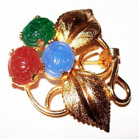 "Egyptian Scarab Brooch Pin Red, Blue, Green Stones Gold Metal Leaves 1.5"" Vintage"