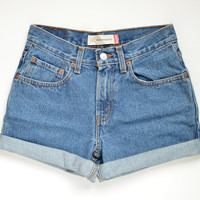 Levis High Waisted Cuffed Denim Shorts Medium Wash Jeans / xs s m l xl xxl