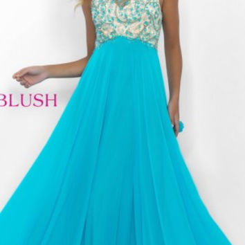 Blush 11088 Prom dress, Pool/Nude chiffon porm dress, illusion beaded bodice size 16