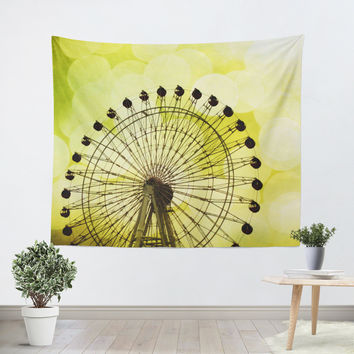Lemon Yellow Ferris Wheel Tapestry