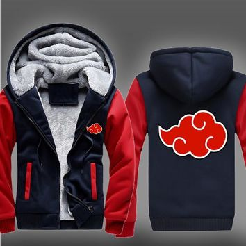 Naruto Akatsuki Hoodie Men's Cosplay Costume Sasuke Kakashi Sweatshirt Winter Fleece Warm Coat S-5XL
