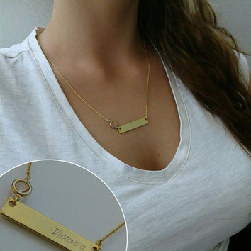 Gold Name Bar Necklace, Dainty Name Necklace, Initial Necklace, Bridesmaid Gift ideas,  Gold Necklace,  Gold Bar Necklace 14k gold filled