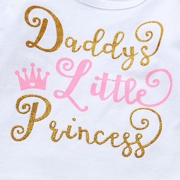Daddy's Little Princess Infant Baby Onesuit Bodysuit Floral Long Pants Beanie Hat And Headband