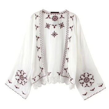 Summer Sea Vacation Embroidery Tops Plus Size Scarf Jacket [6651192513]