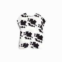 Vintage 80 Cow Print Blouse / Black & White Top / Cow Halloween Costume - women's small