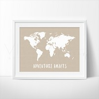Adventure Awaits World Map, Beige
