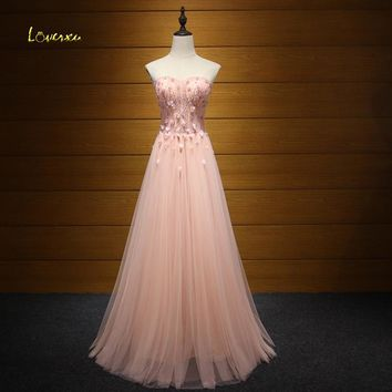 Loverxu Charming Strapless Appliques Lace Up Pink Prom Dress 2017 Luxury Beaded A-Line Formal Party Gown Robe De Soiree Hot Sale