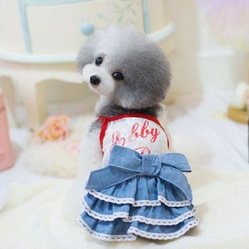 LMFON Hot sale free shipping hot dog Lace Jeans  skirt, dog's's jeans dress for Teddy bear, girl chihuahua,yorkshire,poodle two colors